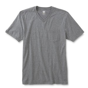 Route 66 9 Route 66 Men's Gray V-Neck T-Shirts with Chest Pocket, Sz XL