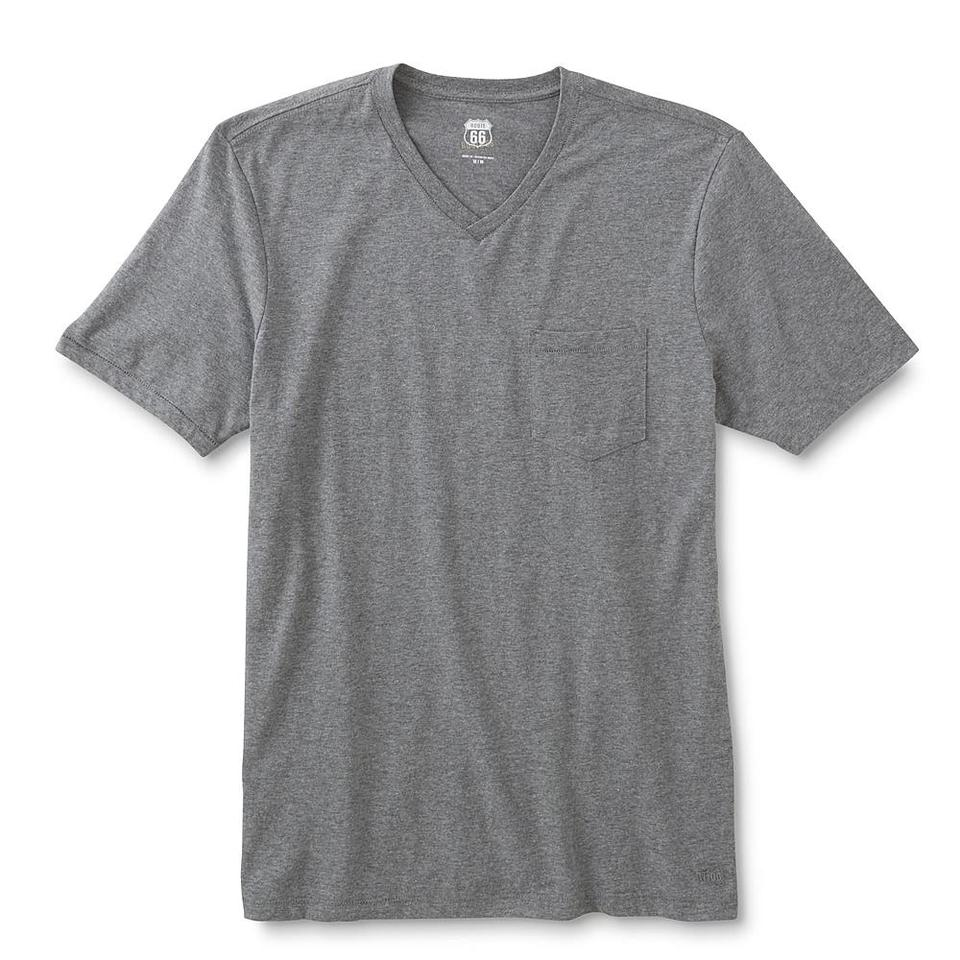Route 66 gray 9 men 39 s v neck t shirts with chest pocket xl for Men s v neck pocket tee shirts