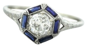 Other Antique Art Deco Diamond Sapphire 18K White Gold Engagement Ring