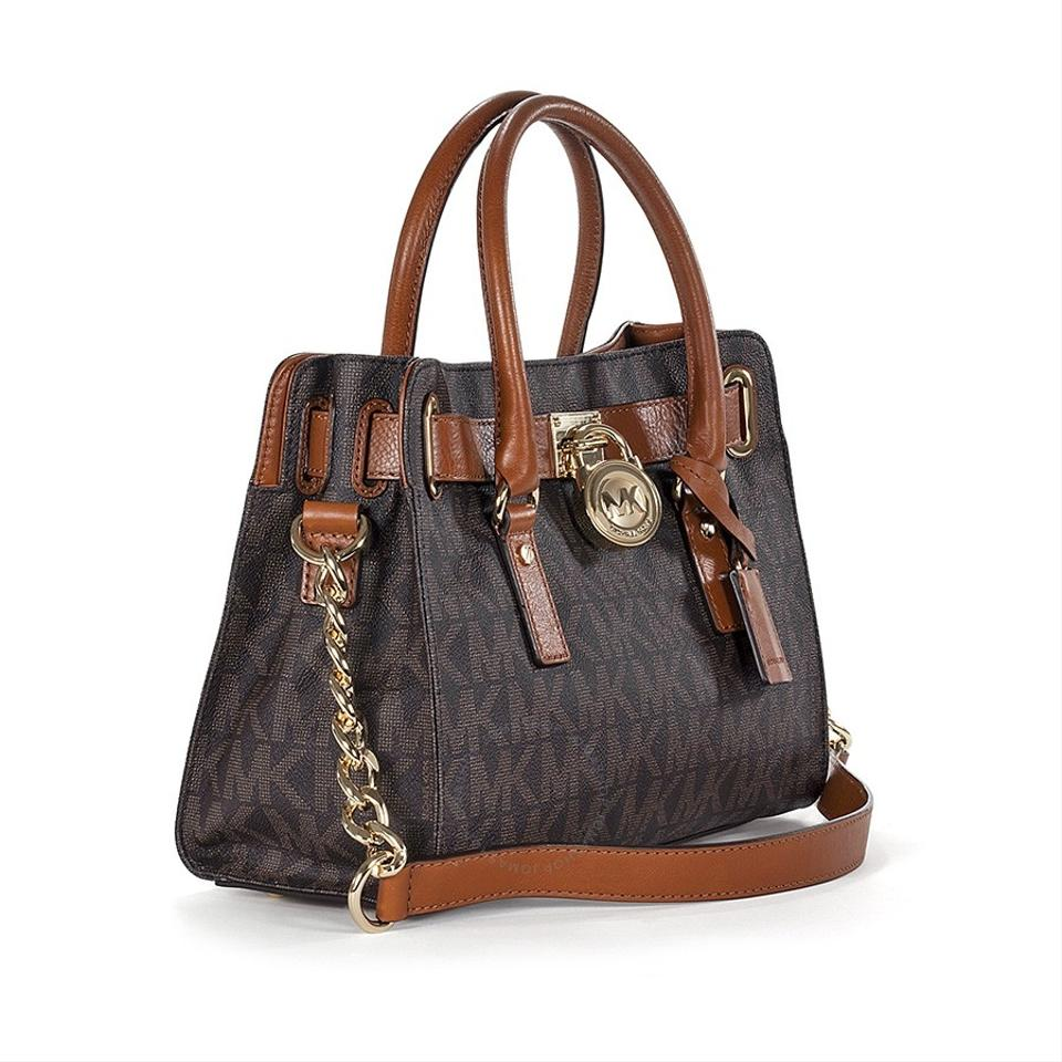 Michael Kors Lock And Key Monogram Hamilton Satchel In Brown Mk Logo Gold Tone Hardware