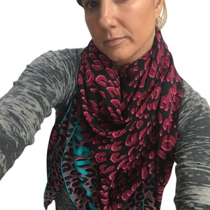 Louis Vuitton Pink, Magenta, Black, Gray and Turquoise Leopard Scarf