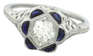 Other Antique Art Deco Diamond Sapphire 18K White Gold EngagementRing