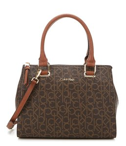 Calvin Klein Faux Leather Monogram Fall Satchel in Brown