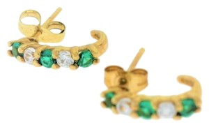 Other Small Round Diamond and Emerald J-Hoop Earrings - 10k Yellow Gold