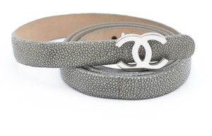 Chanel CHANEL 12A Grey Stingray Leather Belt Thin Silver CC Classic Buckle 85