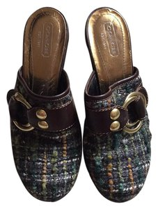 Coach Brown, tweed Mules