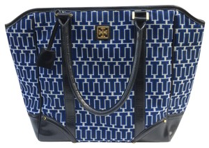 Tory Burch Monogram Leather Tote in Blue