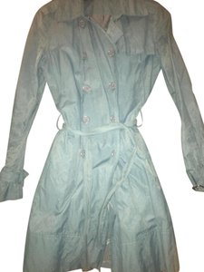 Kenneth Cole Teal Trench Metallic Crinckled Coat
