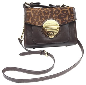Michael Kors Leather Monogram Gold Hardware Cross Body Bag