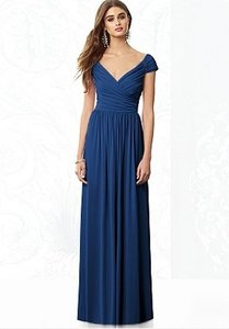 After Six Estate Blue Macaraine Jersey 6697 Modern Bridesmaid/Mob Dress Size 2 (XS)