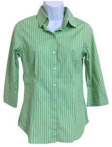 Chico's Striped Button Down Shirt Green And White