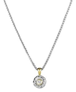David Yurman David Yurman Cable Kids Pendant Necklace with Diamond and Gold