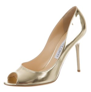 Jimmy Choo Metallic Hardware Peep Toe Embellished Anouk Gold Pumps