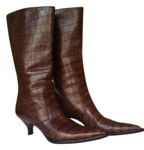 Prada Croc Effect Vintage Like New Brown Boots