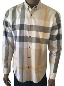 Burberry Brit Button Down Shirt Tan/Grey/White