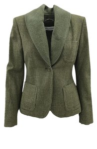 Max Mara Houndstooth Knit Casual Classic Green Blazer