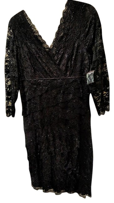 Item - All Black94%nylon/6%spandex Lace and Interior Slip/100%polyester Mid-length Formal Dress Size 14 (L)
