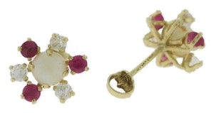 Other Pearl, Red and White Topaz Flower Stud Earrings- 14k Yellow Gold