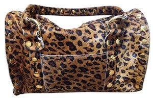Hammitt Skin Animal Print Gold Hardware Satchel in Leopard Print