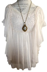 Anthropologie Evening Embroidered Top ivory