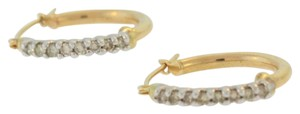 Other Vintage Diamond J-Hoop Earrings- 10k Yellow Gold