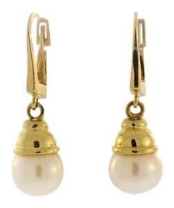 Antique Lamppost Pearl Drop And Dangle Earrings- 14k Yellow Gold