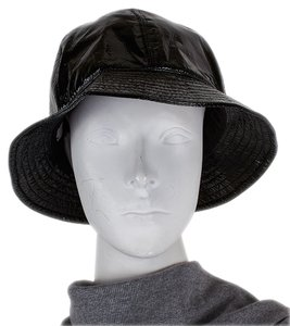 Chanel Chanel Black Patent Leather Bucket Hat, Size 58