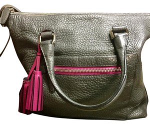 Coach Pebbled Leather Tote in Rory Graphite Berry Grey Fuschia Pink
