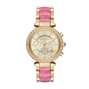 Michael Kors $300 NWT Parker Gold and Pink Acetate Chronograph WATCH MK6363