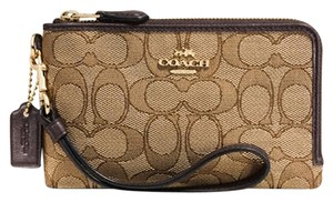 Coach Signature Wristlet in Light Gold / Khaki / Brown
