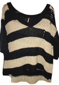 Free People Vneck Distressed Striped Sweater