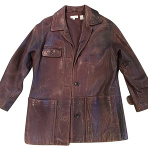 Ann Taylor Leather Vintage Long Brown Leather Jacket