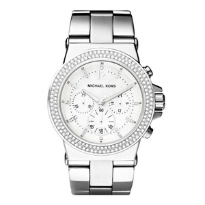Michael Kors BRAND NEW Silver Tone Crystal Glitz Chronograph Watch MK5385