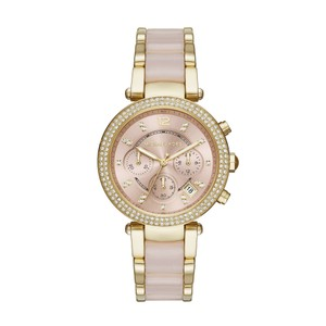 Michael Kors NWT Parker Pink Dial Gold/ Pink Acetate Ladies Watch