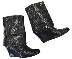 Goldenbleu Patent Leather Wedge Grey Boots