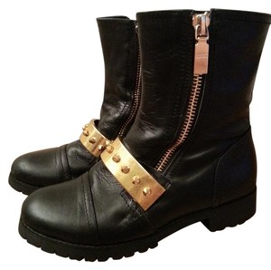 Alexander McQueen Spiked Hardware Leather Moto Lugged-sole Black Boots