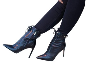 Sam Edelman Leather Lace-up Pointed Toe Black Boots