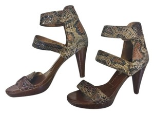 Jeffrey Campbell Snakeskin Strappy Brown Sandals