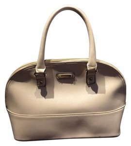 Anne Klein Faux Leather Top Zip Closure Fabric Lining Satchel