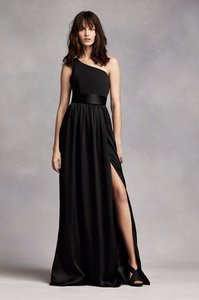 Vera Wang Black One Shoulder Dress With Satin Sash Vw360215 Dress