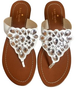 Kate Spade Sparkle Thong Cora White Sandals
