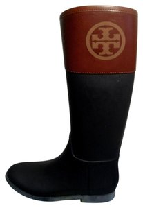Tory Burch Navy Almond New Rubber Leather Dark Blue Brow Boots