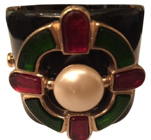 Chanel Chanel Black Resin Pearl Red and Green Gripoix Cuff / Bracelet 2007