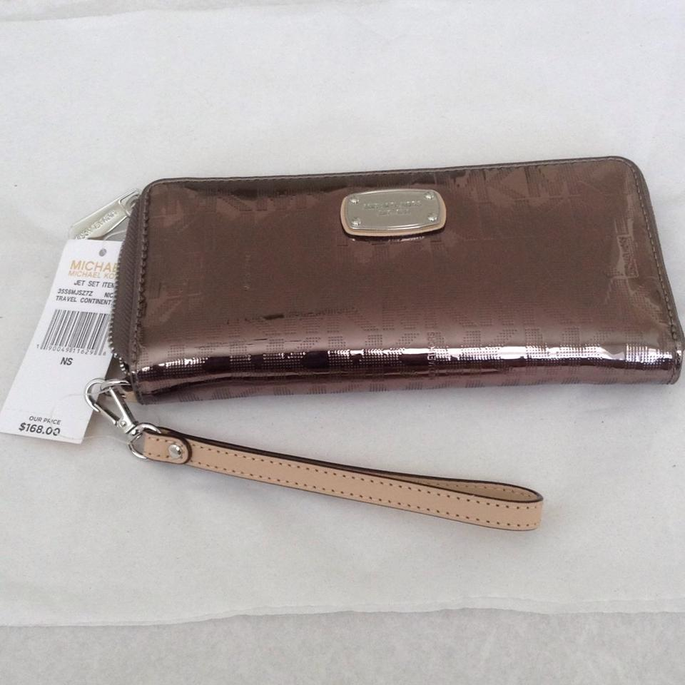 c2934128ec93 Michael Kors NEW Michael Kors Jet Set Travel Continental Nickel Metallic  Wallet Image 10. 1234567891011