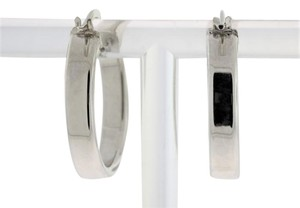 Other Classic Oval Hoop Earrings- 14k White Gold