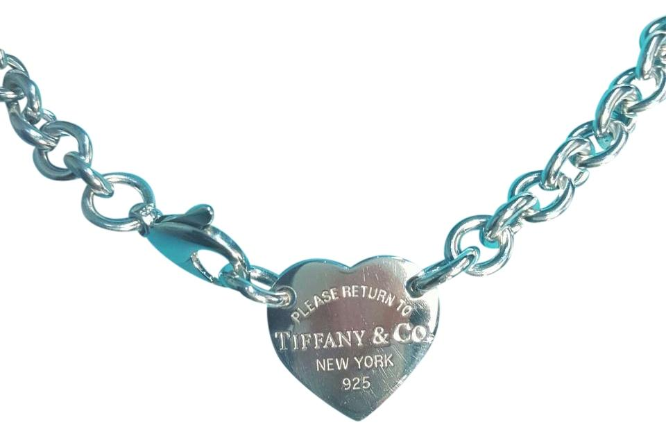 9889eac0a Tiffany & Co. Return To Tiffany Heart Tag Choker Necklace. 15 Inches.  Sterling ...