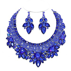 Blue Sapphire Rhinestone Crystal Bouquet Necklace and Earring Set