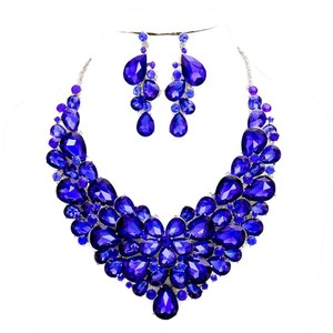 Blue Sapphire Rhinestone Crystal Teardrops Necklace and Earrings