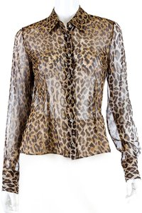 Dolce&Gabbana D&g Leopard Silk Sheer Top Brown