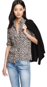 J.Crew Leopard Button Down Shirt Black Brown